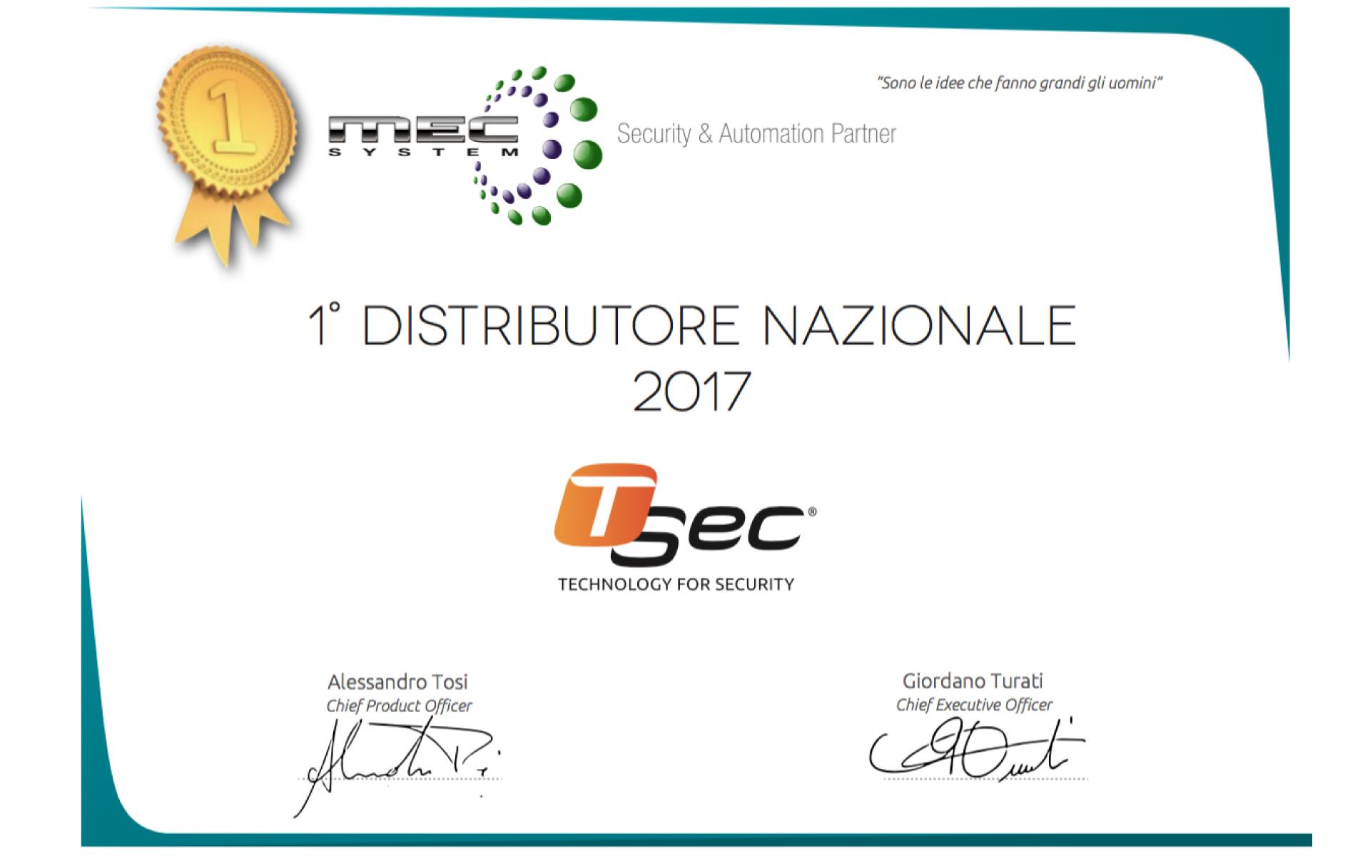 Mec System è il Primo distributore 2017 Tsec